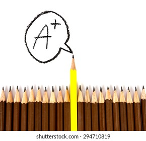 the wooden pencil arrange  with one different with Grade A wording as a symbol of leadership and excellence concept