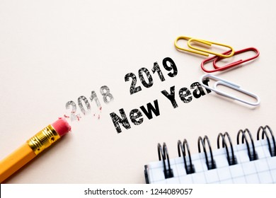 wooden pencil erase 2018. 2019 New Year. cencept for action and reaching goals