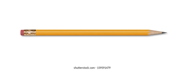 A wooden pencil with an eraser, isolated on white with clipping path.