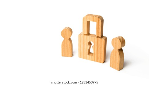 Wooden people with padlocks. Two people with a lock. Security and safety, collateral, loan for a mortgage. Confiscation of property for debts. Safety and alarm system. Security service.