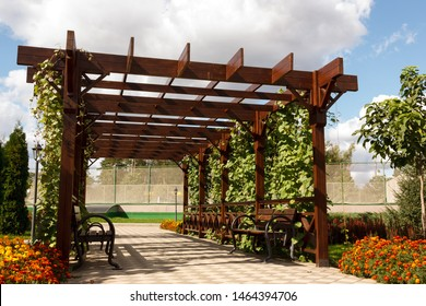 Wooden pergollas from natural wood with comfortable benches in a modern country village on a sunny summer day. The paved path is laid past flower beds, ornamental shrubs and trees. Russia