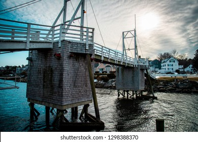 The wooden Perkins Cove footbridge in Ogunquit, Maine during the winter months.