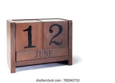 Wooden Perpetual Calendar set to June 12th