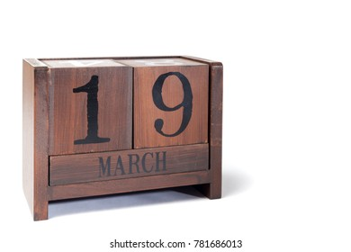 Wooden Perpetual Calendar set to March 19th