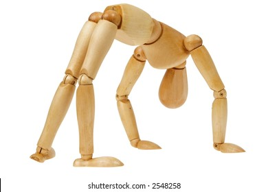 "A wooden person ""bending over backwards"" to accommodate or doing gymnastics, isolated white"