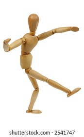 Wooden person kicking a foot ball, soccer ball, or just dancing, isolated white