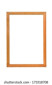 Wooden photo frame with empty space on white background