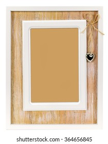 Wooden photo frame with heart on rope.  In the middle where it's heart can be a place for your photo or text.