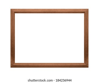 Wooden photo frame isolated on a white background