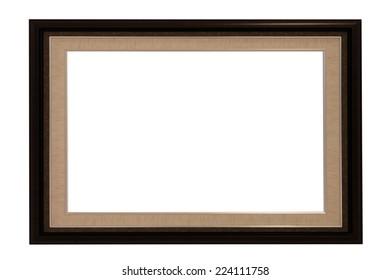 wooden photo frame isolated on white background