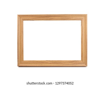 Wooden photo frame on white background.