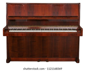 Wooden piano on white isolated background.