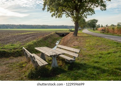 Wooden picnic set in a rural setting in the neighbourhood of the Dutch village Gilze, province North Brabant. It is a sunny day in the autumn season.