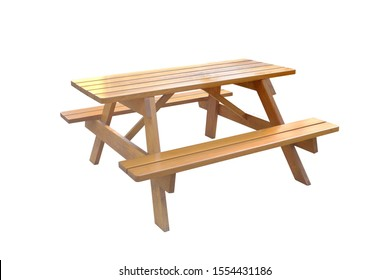Wooden picnic table on white background. Wooden picnic table isolated.