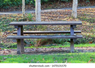 Wooden picnic table in a park during autumn