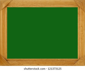 Wooden picture frame with green background