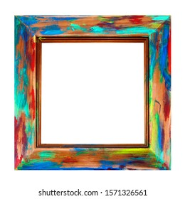 Wooden Picture Frame - Isolated - fun square art frame, in multicolor swirls and splashes of paint - abstract design.