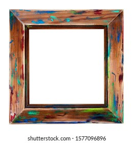 Wooden picture frame - isolated on white background - as a painted and rustic, sanded art frame, with faded paint - creative & original abstract design.