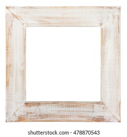 Wooden picture frame isolated on white. Clipping path included.