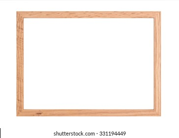 Wooden picture frame on isolated white background with clipping path.