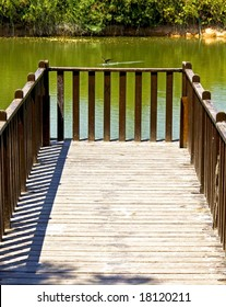 Wooden picturesque fishing ramp