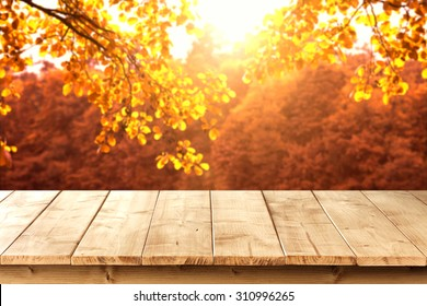 wooden pier and autumn