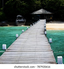 Wooden pier at beach on Tioman Island, Malaysia