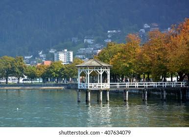 Wooden pier in Bregenz, Austria