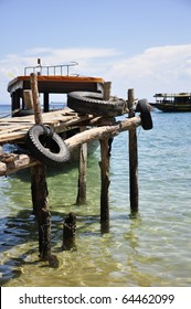 A wooden pier at Cham Island outside Hoi An in Vietnam