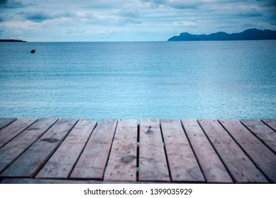 Wooden pier in cloudy morning. Rest, silent, Melancholy concept photo