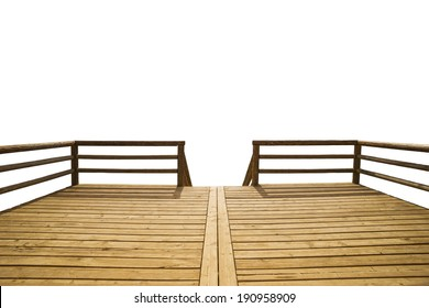 Wooden pier isolate don white background