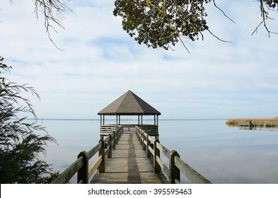 Wooden pier or jetty on Outer Banks lake, North Carolina.