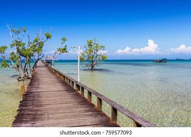 Wooden Pier at Koh Mak Island in Trat, Thailand