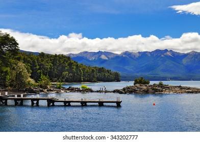 Wooden pier in Los Arrayanes National Park. San Carlos de Bariloche. Argentina