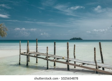 Wooden pier on the beach of Koh rong Cambodia
