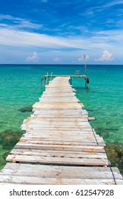 Wooden pier on the beach of Koh Kood island, Thailand