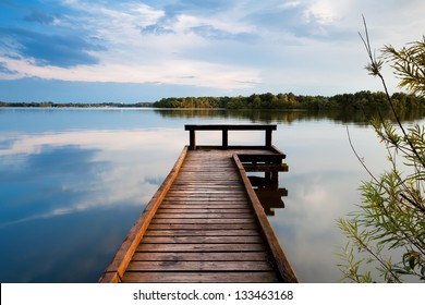 wooden pier on big lake in Groningen