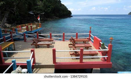 Wooden pier on a lagoon in tropical Island of Sabang Indonesia