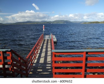 Wooden pier on a sunny day in Norway, Scandinavia