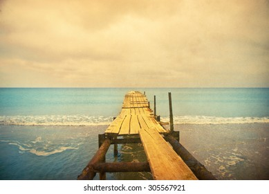 wooden pier - retro style picture
