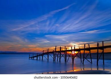 Wooden pier. Somo beach.Cantabria, Spain