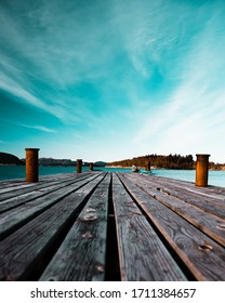 Wooden pier in the springtime