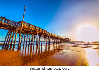 Wooden pier under a clear sky in Newport Beach. California, USA