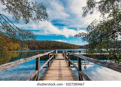 Wooden pier view inside the Plitvice Lakes National Park. Croatia. Europe.