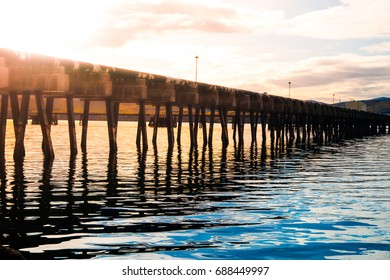 Wooden pier in the western fjord, Iceland.