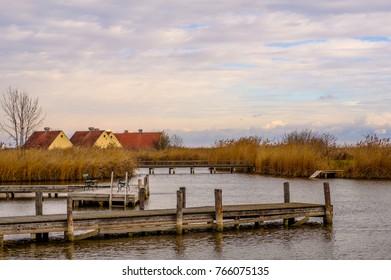 Wooden piers in Neusiedler See in town Rust in Burgenland, Austria