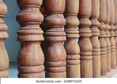 Wooden pillar wall of house. Focus on some point