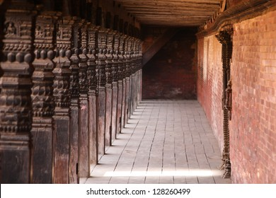 Wooden pillars in the old city, Bhaktapur, Nepal