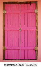 Wooden Pink Door Was Locked By The Combination Lock