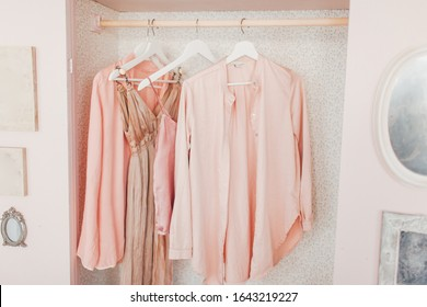 wooden pink wardrobe for women's clothes, open doors, decor, mirror, bag, hangers, silk dresses in a bright room, concept, flowers delicate pastel colors